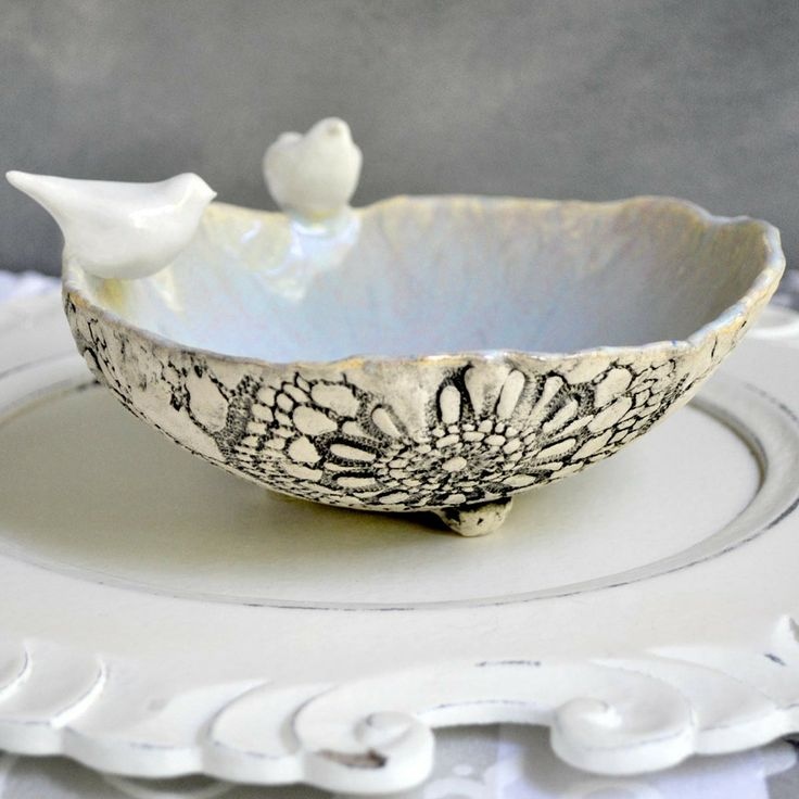 Love birds bowl- great wedding gift! from Lee Wolfe Pottery