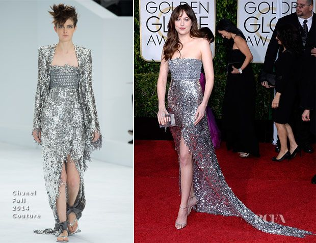 Dakota Johnson In Chanel Couture - 2015 Golden Globe Awards
