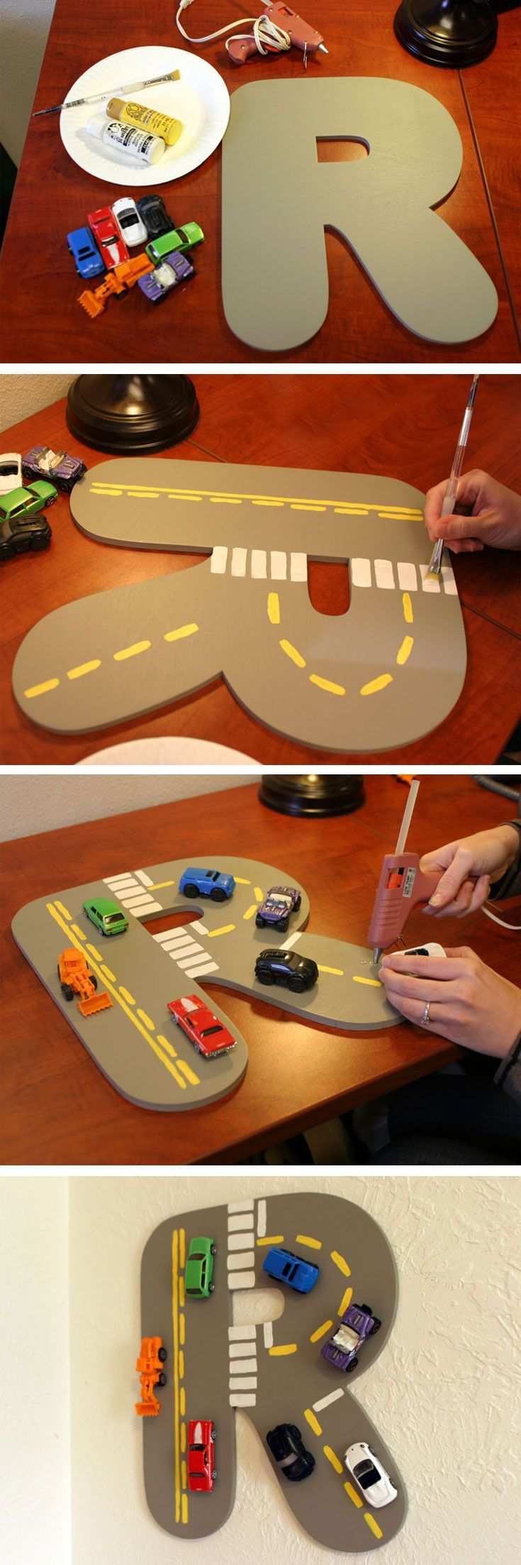 DIY - How To Create a Toy Car Letter  how cute would it be to have the entire alphabet in letters like this that represent something that start with that letter! like an A that looks like and Apple, a bee looking B, a R that looks like a road