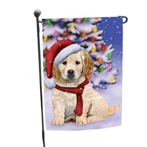Winterland Wonderland Golden Retrievers Dog In Christmas Holiday