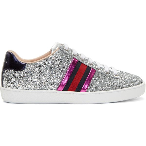 cd24567f7c1 Gucci Silver Glitter Ace Sneakers ( 610) ❤ liked on Polyvore featuring shoes