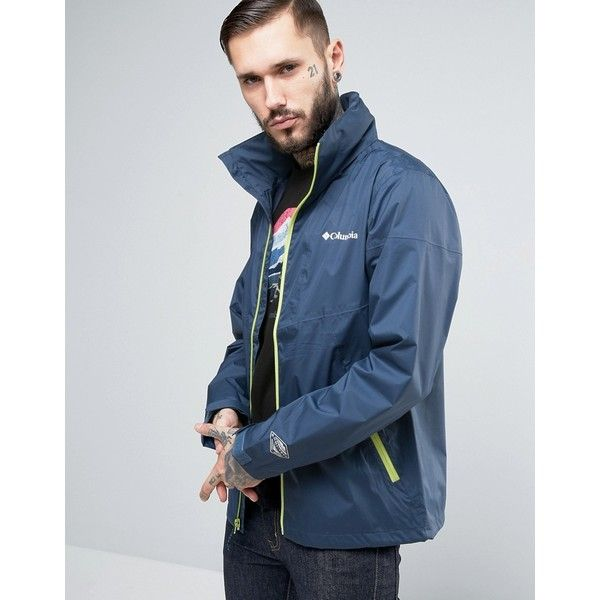 Columbia Inner Limits Hooded Jacket Waterproof Tricolor in Navy ($127) ❤ liked on Polyvore featuring men's fashion, men's clothing, men's outerwear, men's jackets, navy, mens light weight jackets, columbia mens jacket, mens zip jacket, mens navy blue jacket and mens lightweight waterproof jacket
