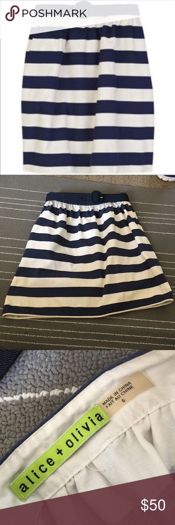 Alice and Olive Nautical skirt ALICE AND OLIVIA nautical themed skirt with belt and 💥POCKETS 💥 gently worn. I've had it for awhile and it's held up very well. It's very well made. Great piece for your summer wardrobe. Alice & Olivia Skirts Mini