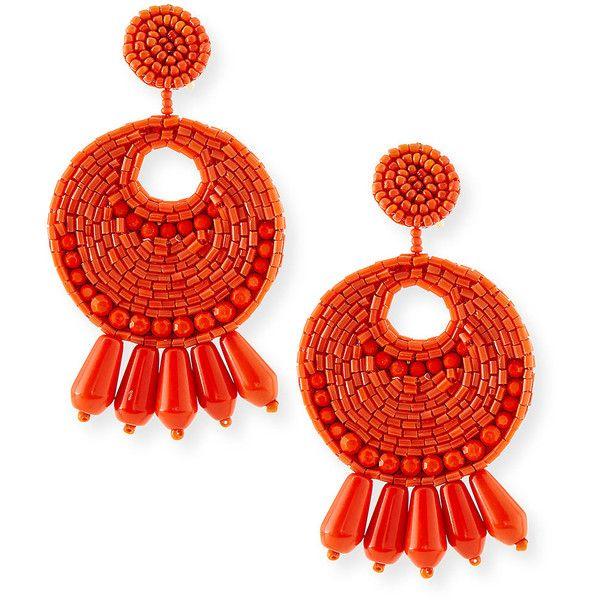Kenneth Jay Lane Seed-Bead Tassel Clip Earrings ($80) ❤ liked on Polyvore featuring jewelry, earrings, coral, tassle earrings, clip earrings, seed bead tassel earrings, tassel jewelry and clip on earrings