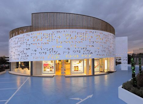 KLab Architecture's braille-covered Placebo Pharmacy - Athens, Greece