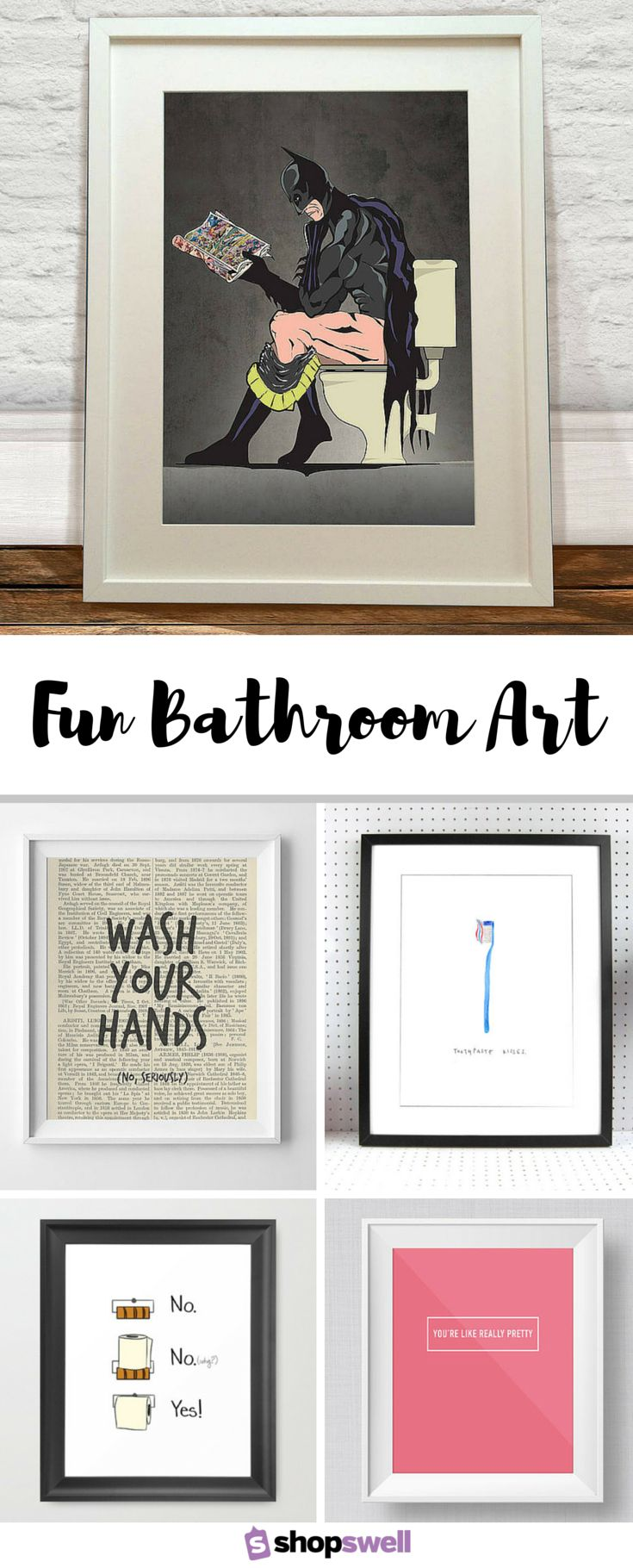 Black and white prints for bathroom - Fun Bathroom Art