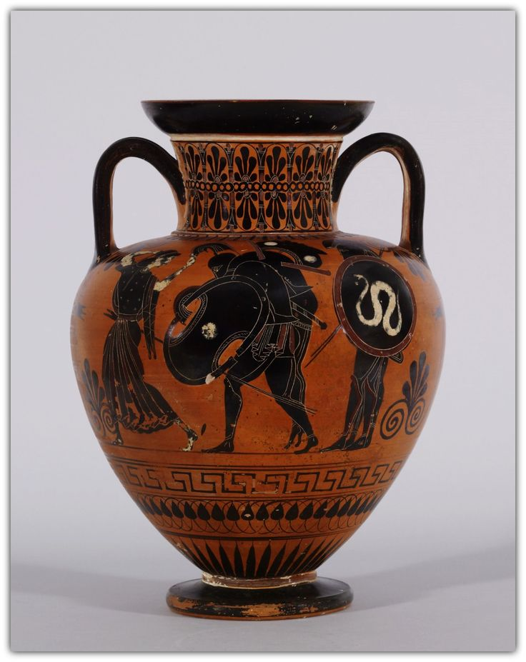 Black Figure Amphora with Ajax carrying the Dead Achilles. Greek 520-510 BC. Terracotta.