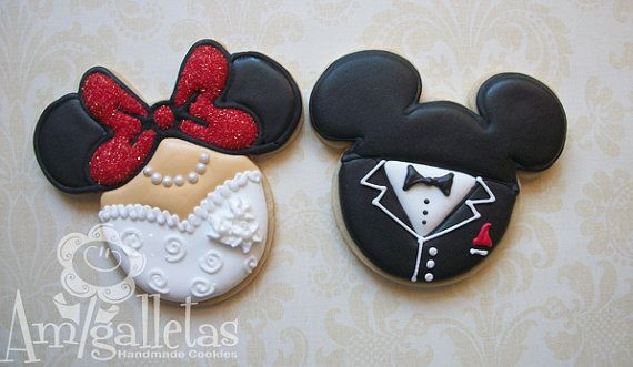 @Matt Nickles Nickles Nickles Nickles Nickles Nickles Valk Chuah red stitch Chiu  Mickey Mouse Wedding Cookies by Amigalletas on Etsy, $39.00