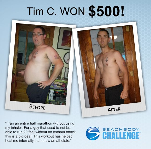 Before and after weight loss results from #P90X, #LesMillsPump, and #Shakeology. Click to read the story of how he did it. #teambeachbody