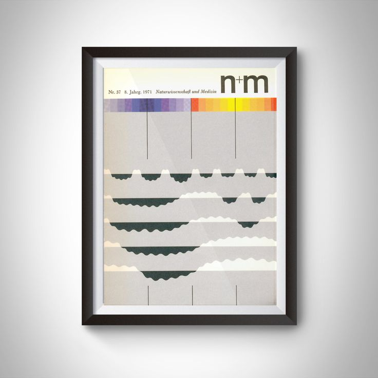 Minimal Midcentury German Science Journal Fine Art Poster Print from 1971 NR 37/8