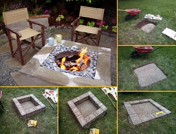 Build Square Fire Pit  #Backyard #Pit