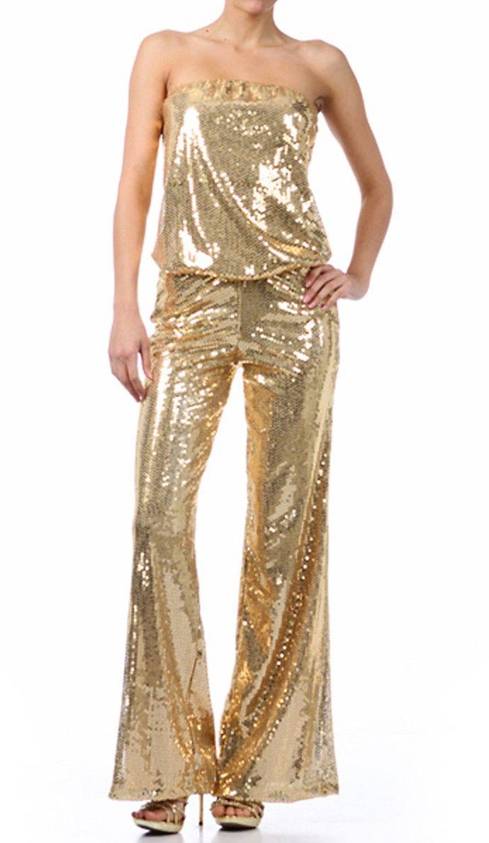Gold Sequin Jumpsuit Metallic Gold Tube Jumpsuit