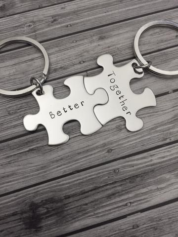 Better together keychains, couples keychains, boyfriend gift