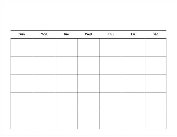 blank 30 day calendar print out