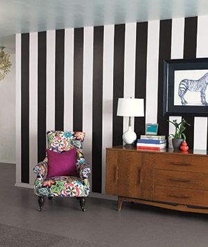 "Wallpaper Made Easy  Self-Adhesive   Vinyl peel-and-stick wallpaper adheres to any clean, smooth, dry surface. It's ""like a stronger version of a Post-it note,""  Shown: Black Jack and Ghost Stripes by Brewster, $12 for each 16-by-6 1/2-inch strip, wall-pops.com for stores."