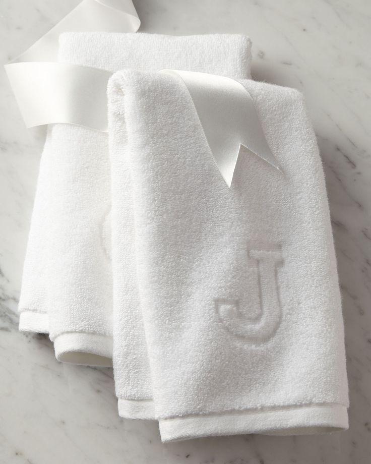 Auberge Monogrammed Hand Towel, White