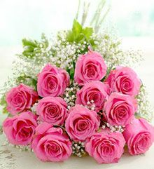 Lovely Pink :12 Pink Roses Open packing Bunch