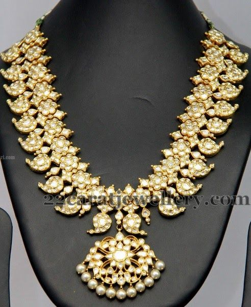 Jewellery Designs: Floral Work Diamond Long Chain