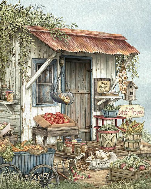Uncle Ralph's Veggies by Beverly Levi-Parker ~ mixed media still life