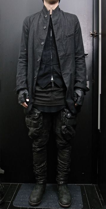 paul harnden jacket, soloist vest, drkshdw shirt, rick owens tank, julius leather pant, glove, and boot