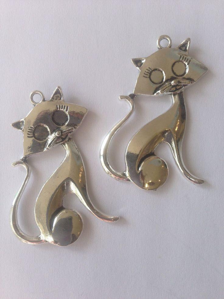 Elegant Silver Cat Pendant for jewellary making by FionasHobbyHut on Etsy