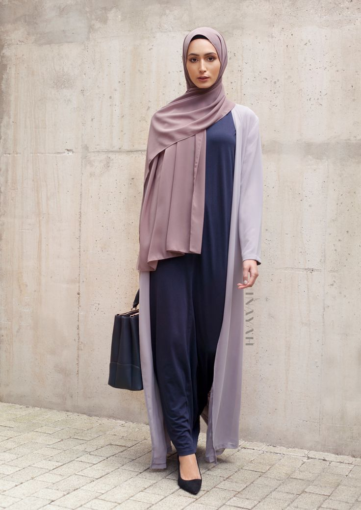 INAYAH | Fresh Looks - Navy Seam Front #Slip #Dress + Mid Grey #Oversized #Maxi #Kimono + Pebble Soft Crepe #Hijab - www.inayah.co