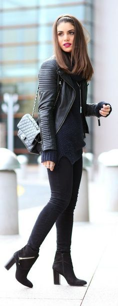 Navy Plus Sized Knit Turtleneck with Black Moto Jacket and Skinnies, Heels Booties.