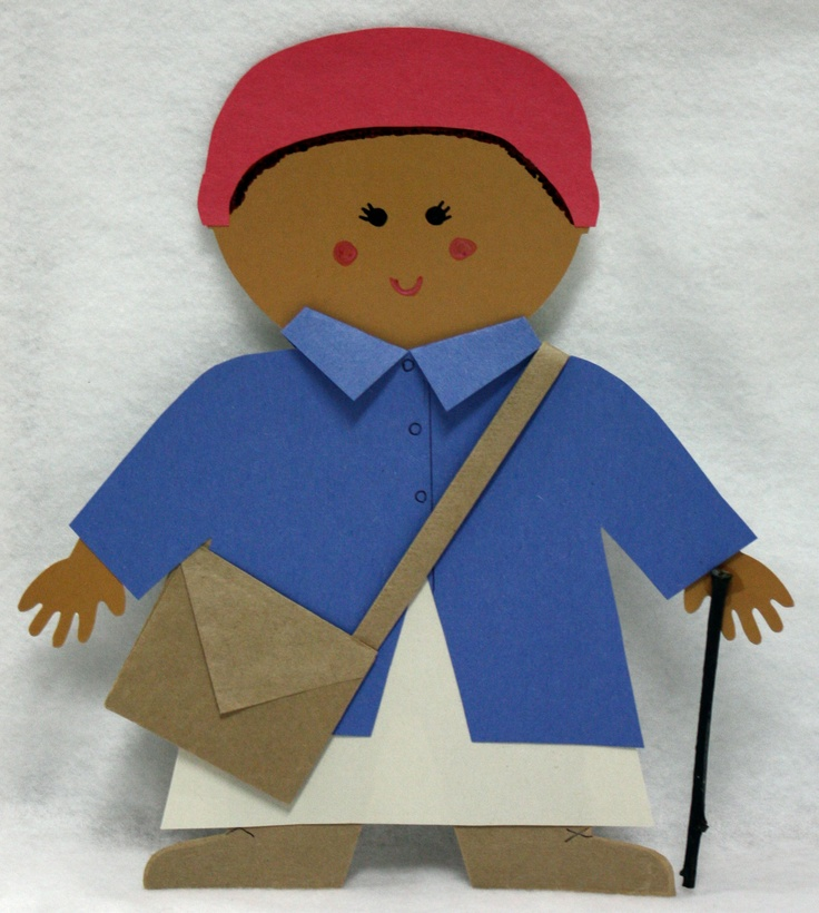 """Harriett Tubman made from Multicultural People 10"""" Jumbo Designer Cut-Outs 6243 www.creativeteaching.com"""