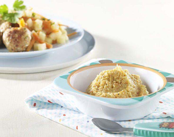 Kippengehaktballetjes met gestoofde knolselder, wortel en quinoa (Baby eet mee)