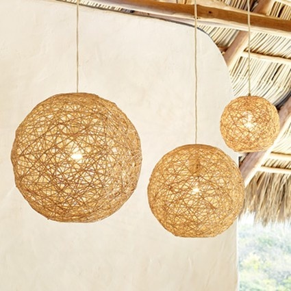 Balloon/ball pendant lamp. Simple DIY and incredible result. Twine, hemp, yarn even doilies. Imagine the possibilities!
