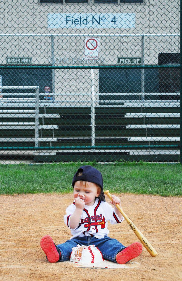 Rhett's first birthday photo shoot baseball field cake smash Atlanta Braves  photo cred: Summer Nail Photography
