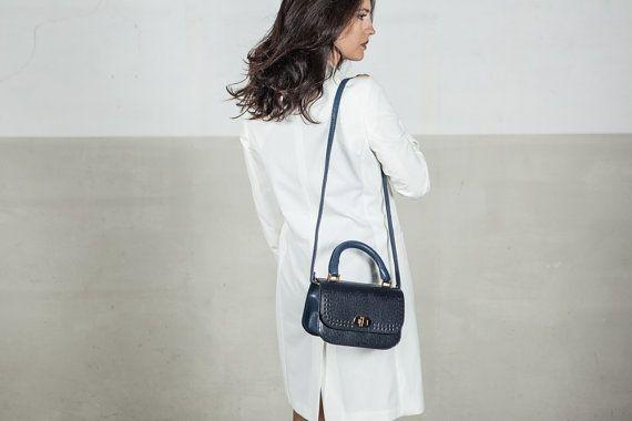 Blue handbag, soft leather
