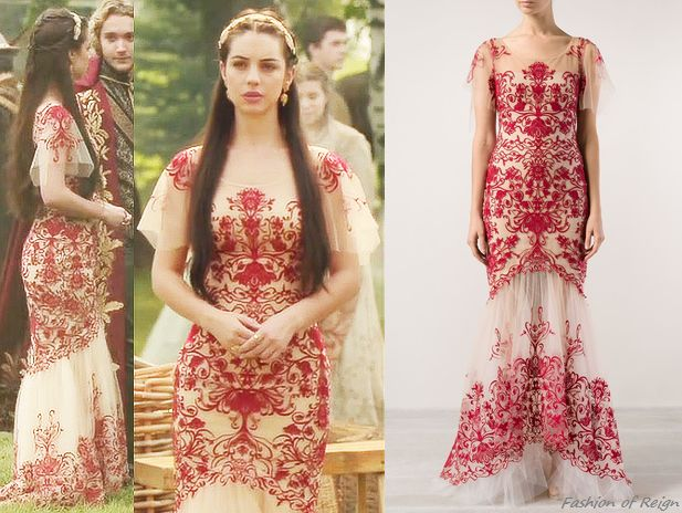 """In the episode 2x03 (""""Coronation"""") Queen Mary wears this sold out Notte by Marchesa Fully Embroidered Mermaid Gown. Worn with Gillian Steinhardt labyrinth and signet rings, Deepa Gurnani headband."""
