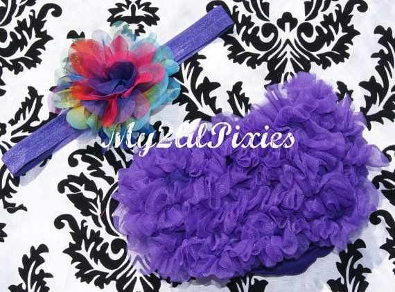 Baby Girl Headband And Purple Chiffon Ruffle bum Baby bloomer Diaper Cover Chiffon Ruffles - Photo Prop- MY2LILPIXIES