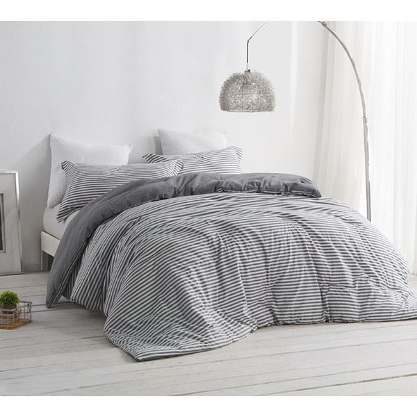 Byb Carbon Stone Grey And White Stripe Comforter Shams