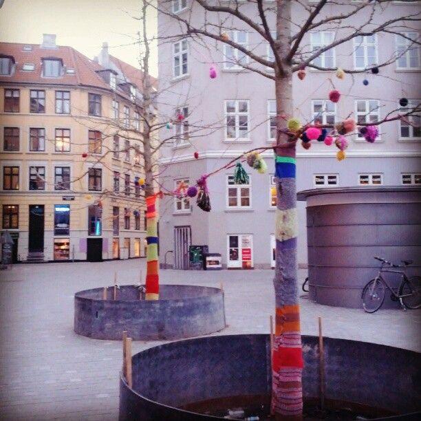 Trees wrapped for Easter in Denmark