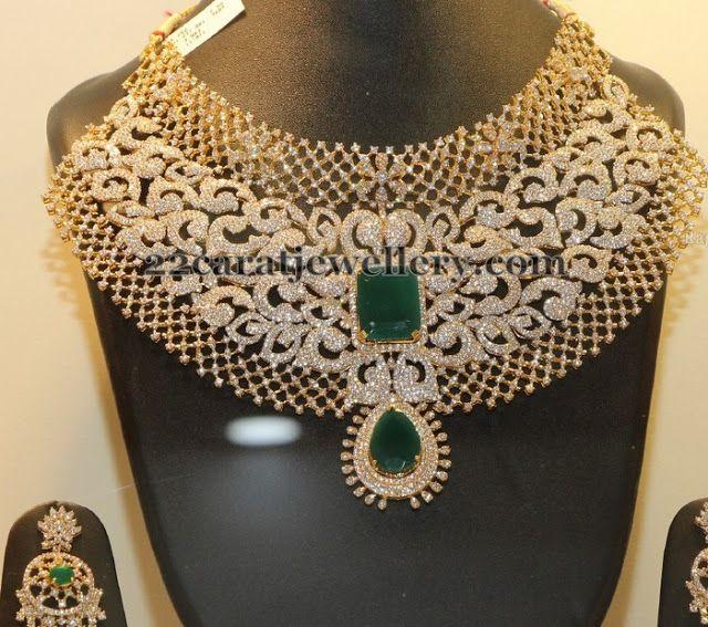 Bridal Diamond Necklace And Haram Set: Exclusive Grand Diamond Set
