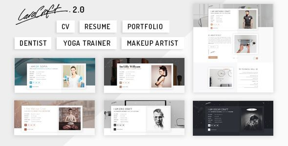 Caracraft is a clean, minimal, personal and well crafted html template. It's a cv / resume/ portfolio template focused on digital professionals whether designers,programmers, dentist,makeup artist,...