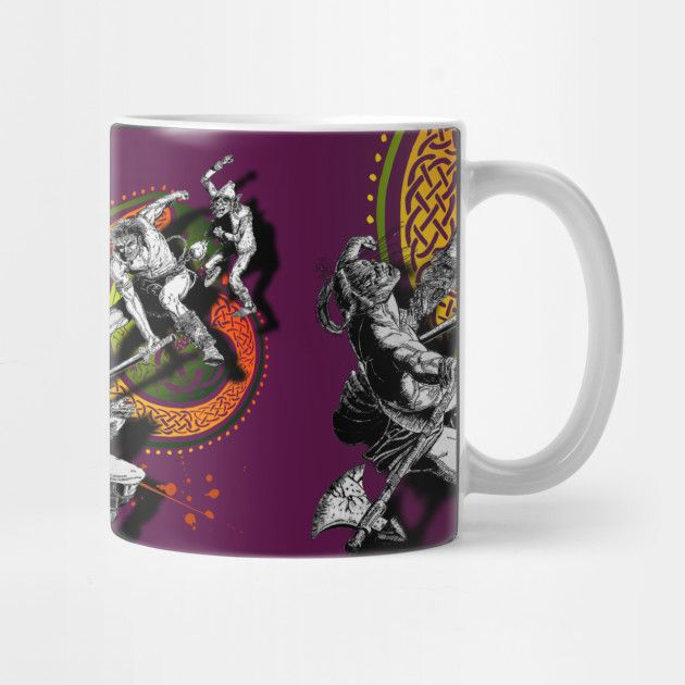 'Ukko and the Slayer' mug @teepub #discount #teepublicmugs #teepublic #mugs #legend #ukko #slayer #sword #fantasy #mythological #irishmyths #celtic #nordic #mashup #cups #homeware #homedecor #cupoftea #coffeemugs #illustration #comicbook