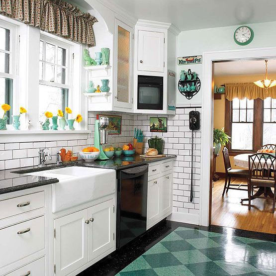 Apron-front sink, white subway tiles, checkerboard floor!!