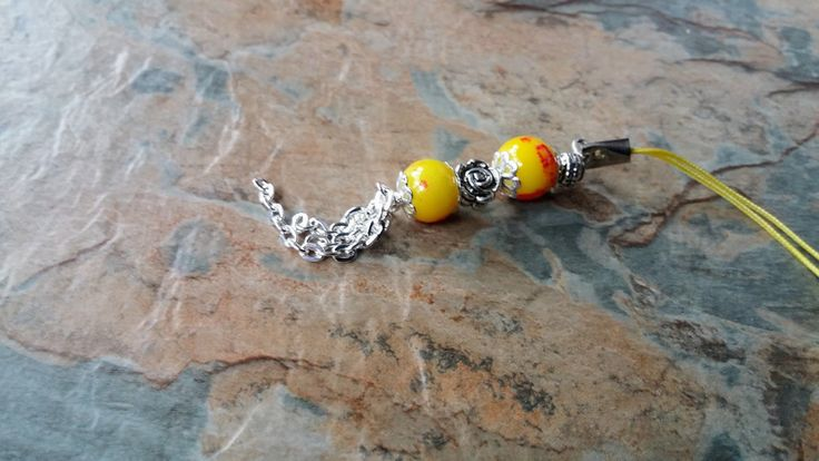 Yellow marble glass beads with  silver dangling chains and rose key chain, phone charm/ pendant, bag accessories, by SpryHandcrafted on Etsy