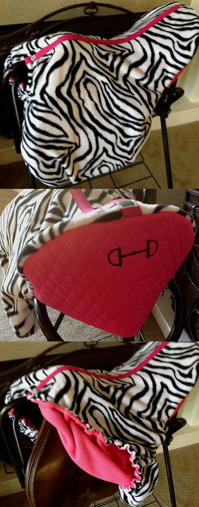 Saddle Covers 179000: Custom Made Fleece Zebra And Hot Pink Saddle Cover With Embroidered Bridle Bit BUY IT NOW ONLY: $48.0