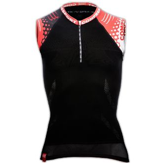 Unisex Compressport Compression Trail Shirt Sleeveless This light compression area is directly woven into the fabric to: Ensure you have correct body-positioning during prolonged effort, Ensure your shoulders stay aligned Thereby boosts breathing and improves oxygenation during effort as well as after to enhance your recovery.