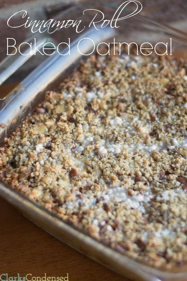 Cinnamon roll baked oatmeal recipe - this is a great Christmas breakfast recipe. Super simple but delicious.