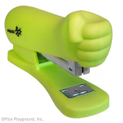 Hulk Smash stapler. Way to bring together two of my nerd loves - office supplies and Hulk!
