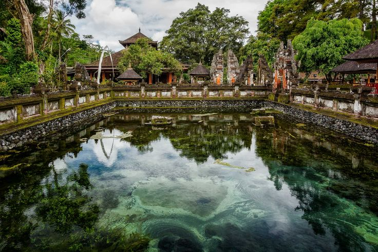 The color of the slime in a stagnant pool produces harmony with the surrounding trees and a vivid contrast with the predominantly orange color of the walls in a Hindu temple in Bali, Indonesia. Beauty is everywhere, it's all a matter of perspective.