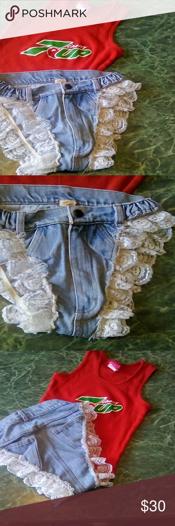 Vintage Ultimate Daisy Duke Short 7up top Super cute and a rare find, truly vintage size small top and bottom bottom has an easily repairable hole in the lace see last pic. Shorts