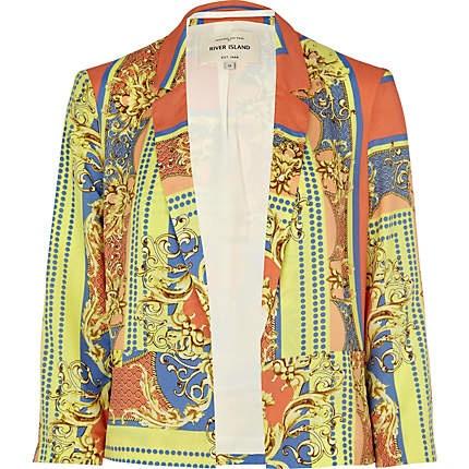 orange scarf print blazer - blazers - coats / jackets - women - River Island