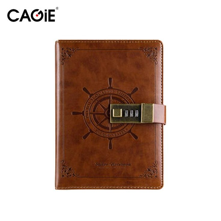 Diary With Lock Cagie Vintage Leather Journals Navigation Pattern Personal DIY Diary Creative Trends Cuadernos Plan Sketchbook