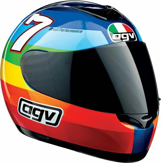 2003 AGV 'Peace' Helmet (Barry Sheene Tribute) Valentino Rossi came out for testing with a bright rainbow helmet design by Aldo Drudi that contained two messages. The helmet featured all the colours of the rainbow, and had the word 'PACE' in large white letters on the back. 'Pace' is Italian for 'Peace', and the design was used to voice Rossi's opposition to the invasion on Iraq, a subject that was dominating the news.  The helmet also had the 'number 7′ on either side as a tribute to Barry…